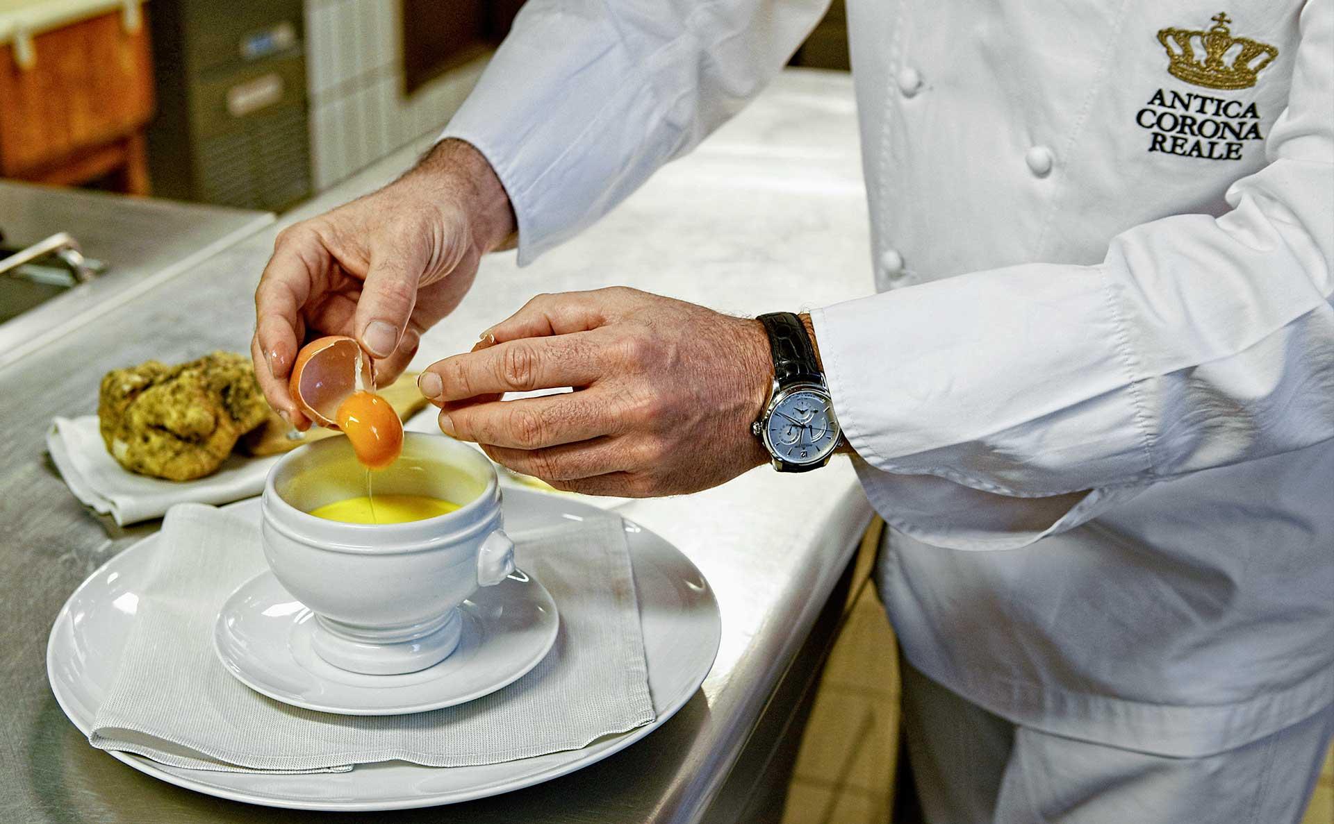 Chef all'opera all'Osteria Antica Corona Reale (2 stelle Michelin)