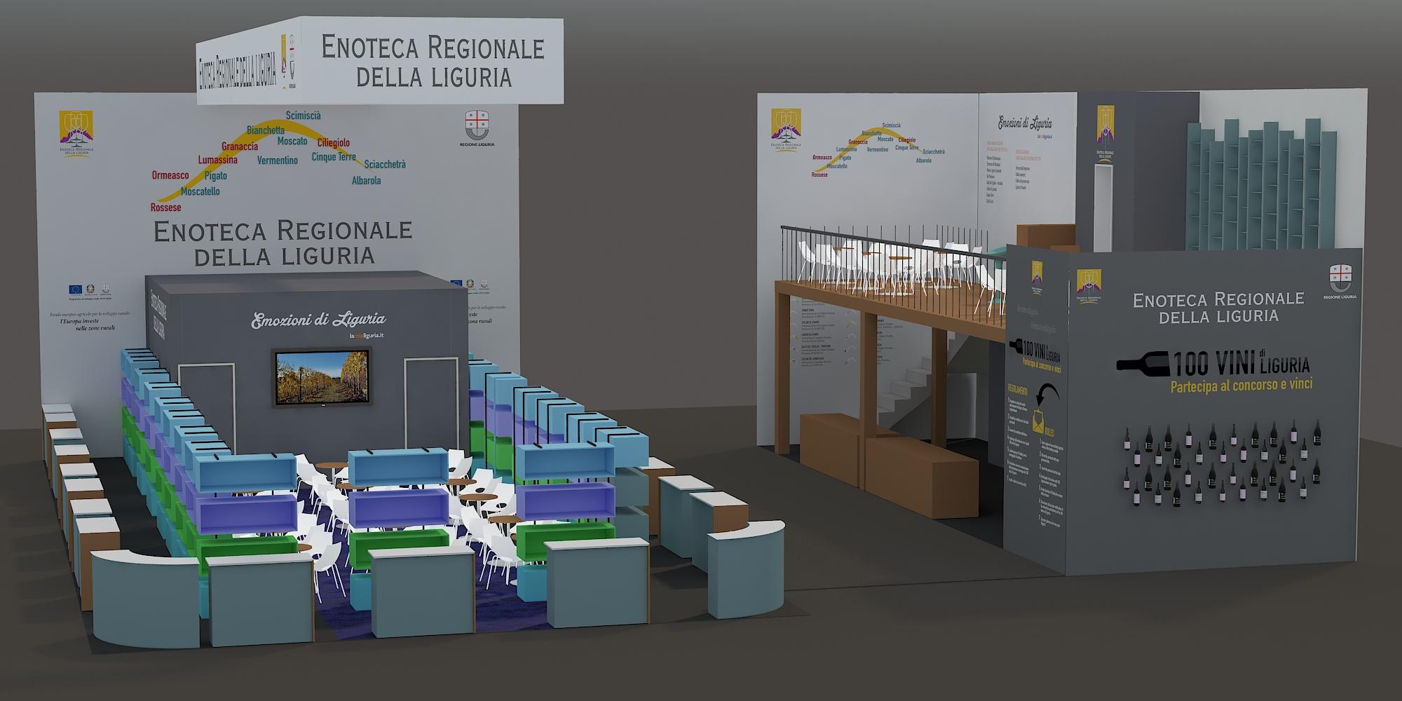 Il render dello stand di Enoteca ligure a VINITALY 2019