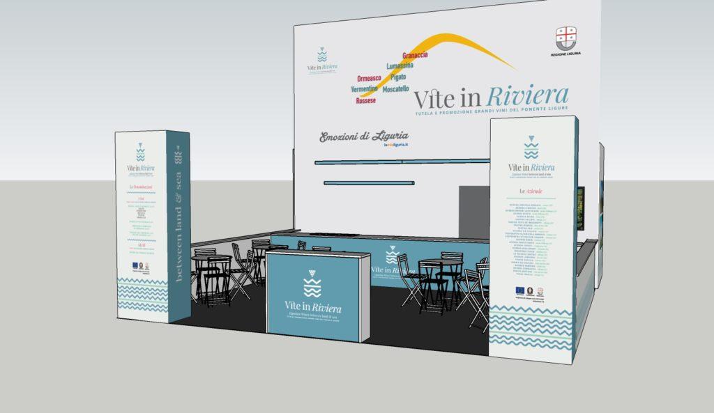 Il render dello stand di Vite in Riviera a VINITALY 2019